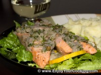 Salmon under Capers and Dill Sauce